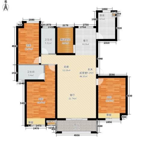 米兰浅山郡3室0厅2卫1厨136.00㎡户型图