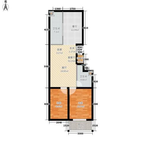 盛华苑二期2室1厅2卫0厨102.00㎡户型图