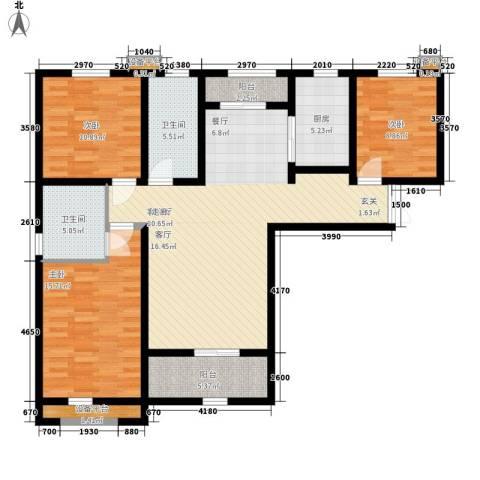 上东城3室1厅2卫1厨141.00㎡户型图