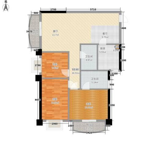 芙蓉公馆3室1厅2卫1厨123.00㎡户型图
