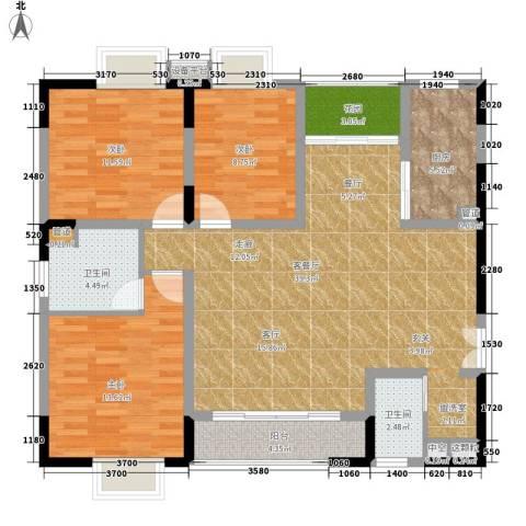 兴豪门3室1厅2卫1厨136.00㎡户型图