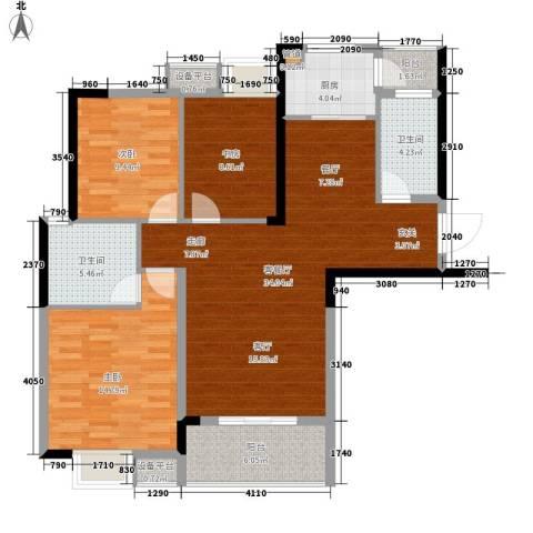 东城国际3室1厅2卫1厨123.00㎡户型图