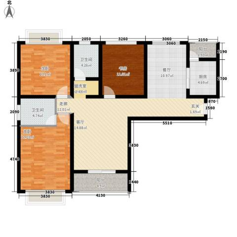 龙天名俊3室0厅2卫1厨130.00㎡户型图