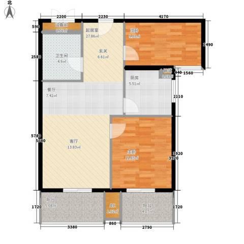 大唐盛苑2室0厅1卫1厨79.00㎡户型图