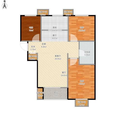 万科城3室1厅1卫1厨112.00㎡户型图