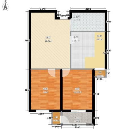富饶世家2室2厅1卫0厨77.00㎡户型图