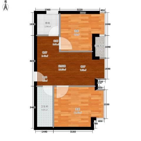 东方国际2室0厅1卫1厨50.92㎡户型图