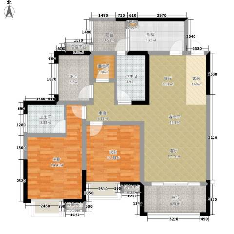 香江华府2室1厅2卫1厨116.00㎡户型图