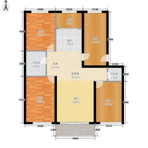 意达花园3室0厅2卫1厨130.00㎡户型图
