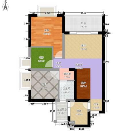 银海北极星3室1厅1卫1厨75.00㎡户型图