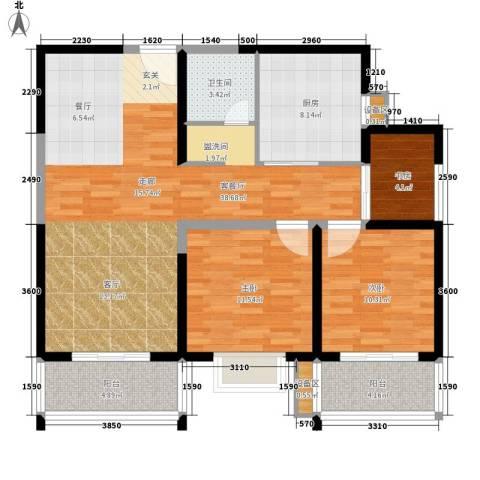 菁华名门3室1厅1卫1厨86.10㎡户型图