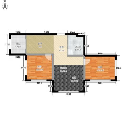 万象国际2室0厅1卫1厨81.00㎡户型图