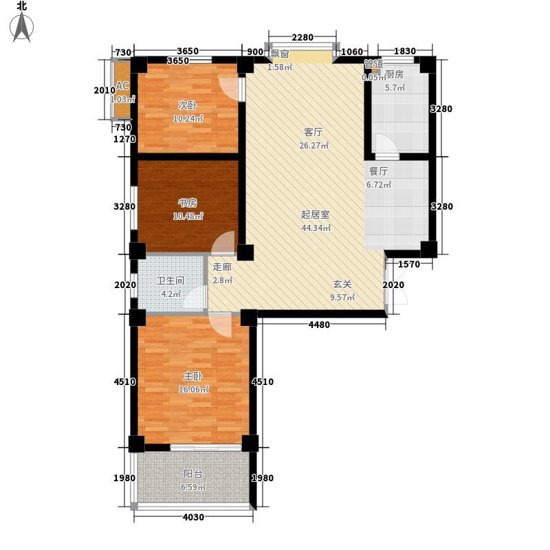 金禾 理想城三室两厅一厨一卫户型