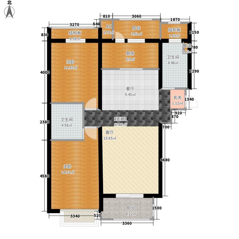悦城3号楼户型2室2厅