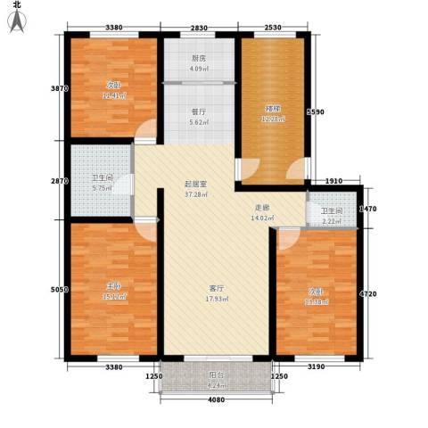 意达花园3室0厅2卫1厨120.00㎡户型图