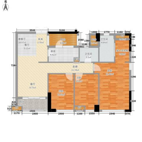 西城楼华府3室1厅2卫1厨132.00㎡户型图