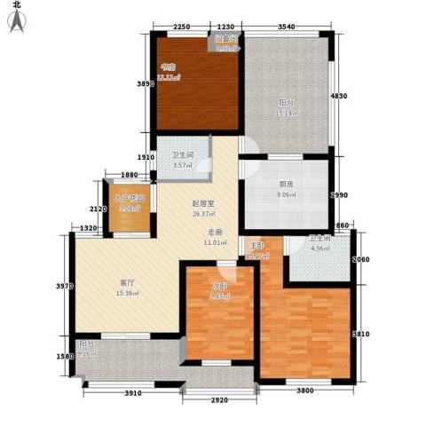 雨山美地3室0厅2卫1厨123.00㎡户型图