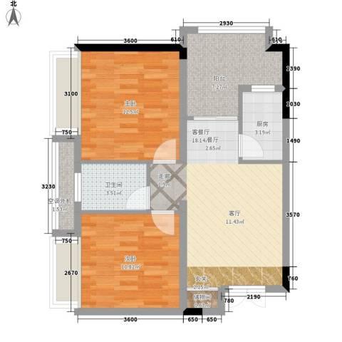 昆仑和府华庭2室1厅1卫1厨83.00㎡户型图