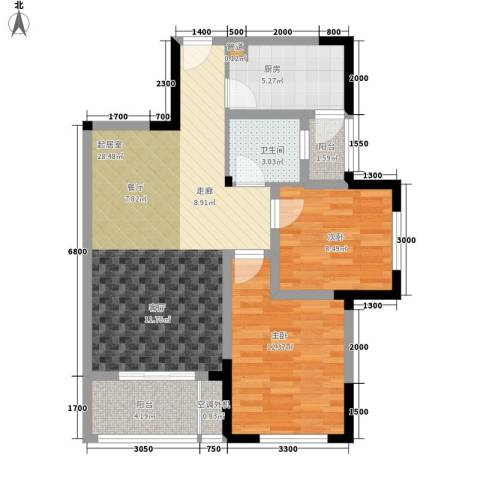 天瑞公馆2室0厅1卫1厨92.00㎡户型图