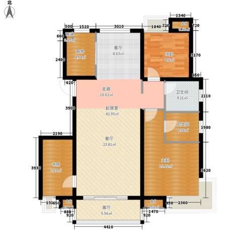 东壹区3室1厅2卫1厨107.60㎡户型图
