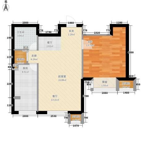 莱镇香格里1室0厅1卫1厨68.00㎡户型图