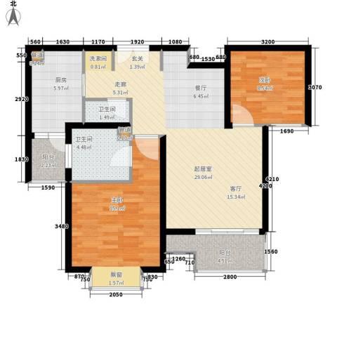 盛世宝邸2室0厅2卫1厨82.00㎡户型图