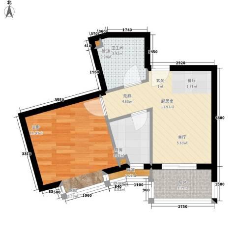 莱镇香格里1室0厅1卫1厨52.00㎡户型图