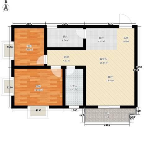 盛世华庭2室1厅1卫1厨85.00㎡户型图