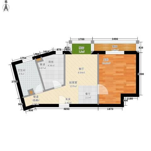 莱镇香格里1室0厅1卫1厨47.00㎡户型图