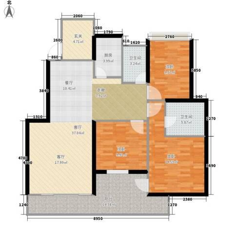 金地荔湖城3室1厅2卫1厨113.00㎡户型图