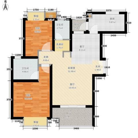 盛世宝邸2室0厅2卫1厨91.00㎡户型图
