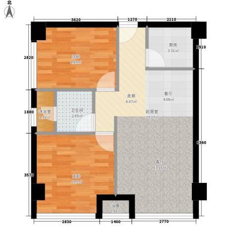 东城商城2室0厅1卫1厨72.00㎡户型图