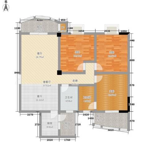 南苑新城名苑3室1厅2卫1厨153.00㎡户型图
