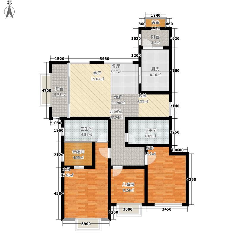 海信·依云小镇132.74㎡16号地块A1户型3室2厅