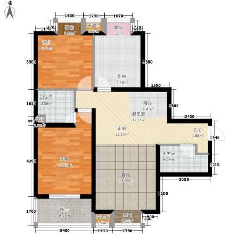 莱镇香格里2室0厅2卫1厨103.00㎡户型图