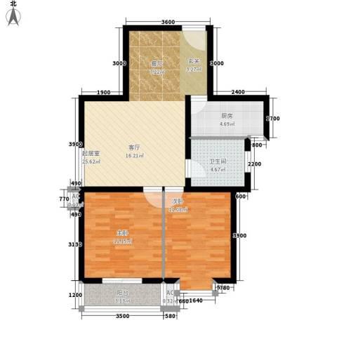 滨海未来城2室0厅1卫1厨85.00㎡户型图