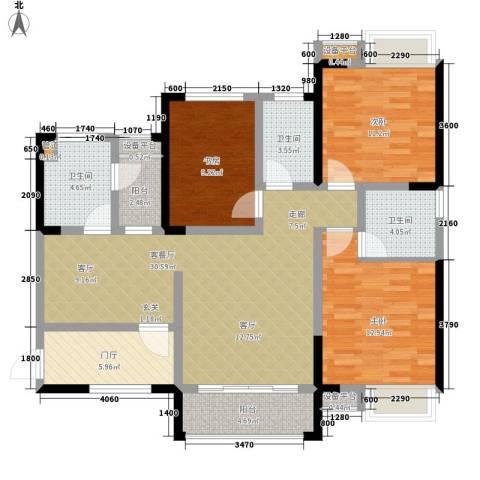 香江华府3室1厅3卫0厨117.00㎡户型图