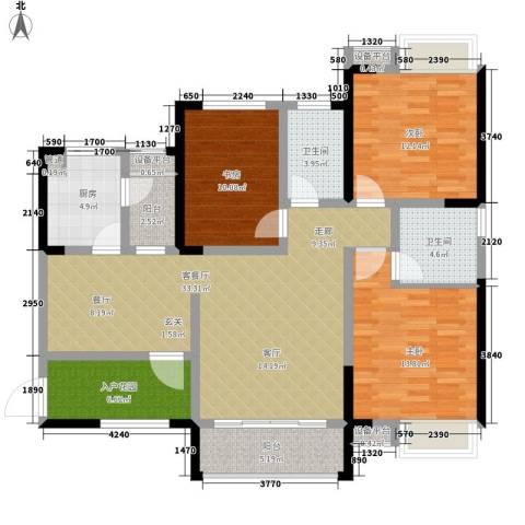 香江华府3室1厅2卫1厨119.00㎡户型图