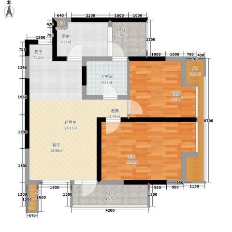 天下城2室0厅1卫1厨74.00㎡户型图