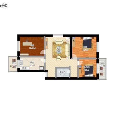 我的公寓3室1厅1卫1厨132.00㎡户型图