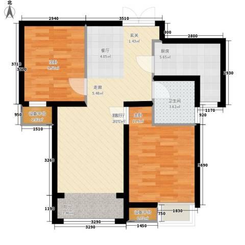 中交启航嘉园2室1厅1卫1厨85.00㎡户型图