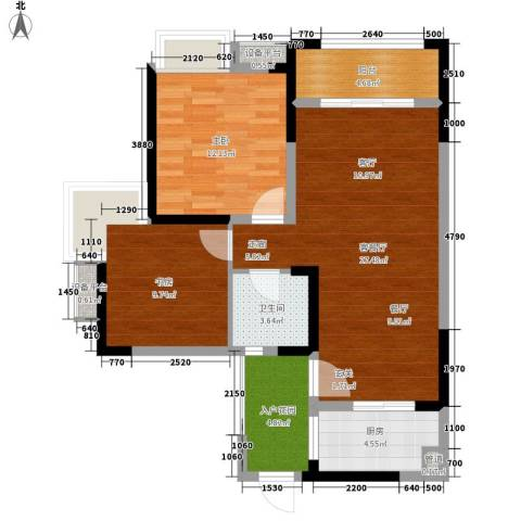 香江华府2室1厅1卫1厨86.00㎡户型图