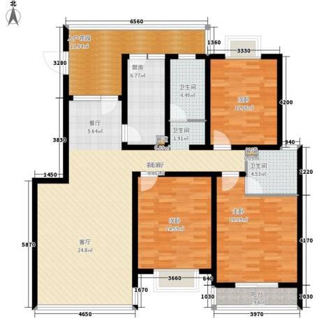 双龙西路小区3室1厅2卫1厨133.00㎡户型图