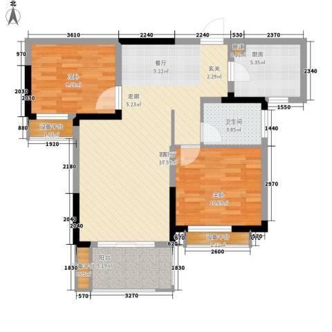 东湖花园2室1厅1卫1厨145.00㎡户型图