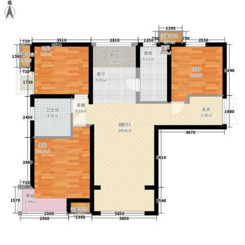 中交启航嘉园3室1厅1卫1厨121.00㎡户型图