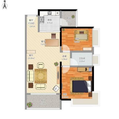 富山居花园2室1厅1卫1厨88.00㎡户型图