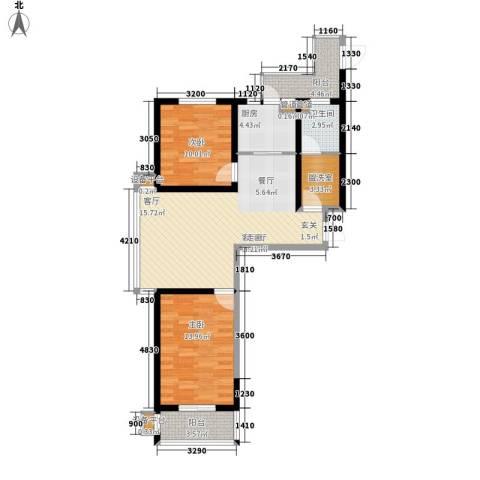 瑶晨绿岛2室1厅1卫1厨100.00㎡户型图
