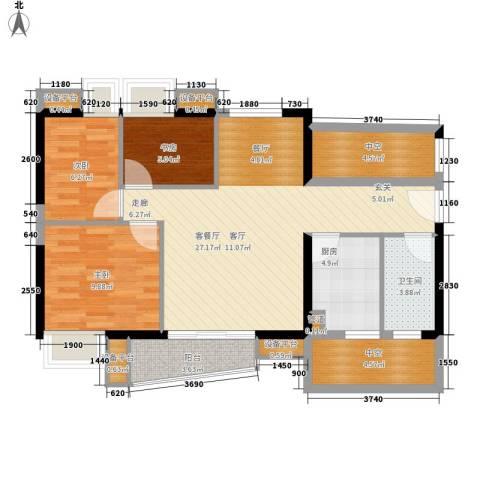 黄埔雅苑3室1厅1卫1厨84.00㎡户型图