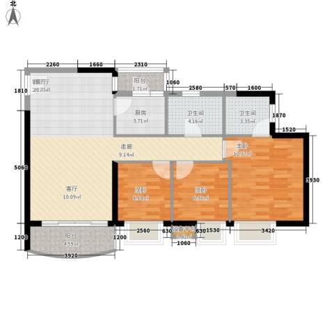 黄埔雅苑3室1厅2卫1厨82.00㎡户型图
