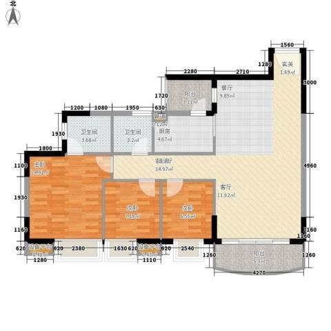 黄埔雅苑3室1厅2卫1厨98.00㎡户型图